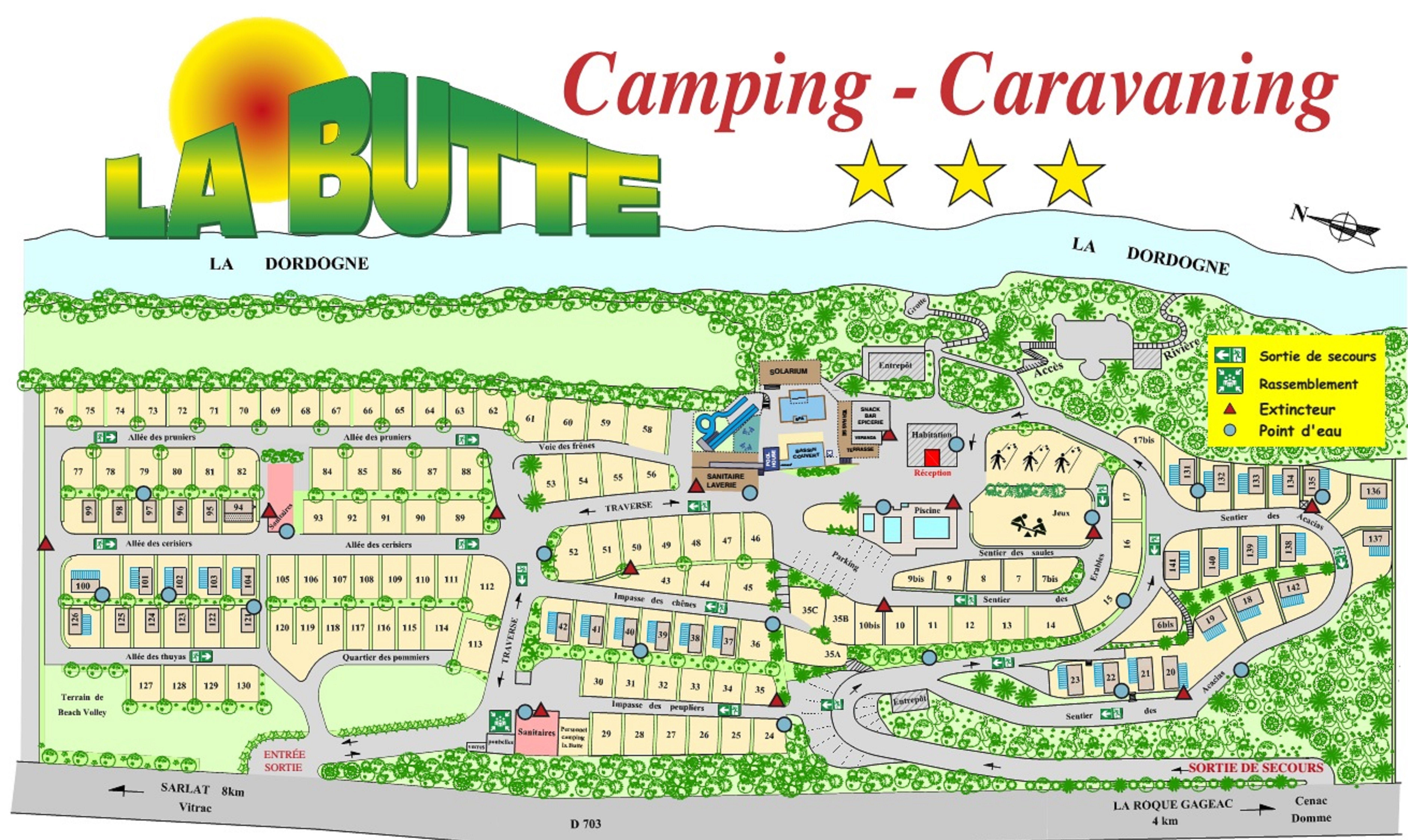 le plan du camping familial la butte en dordogne périgord noir prés de sarlat à la roque gageac