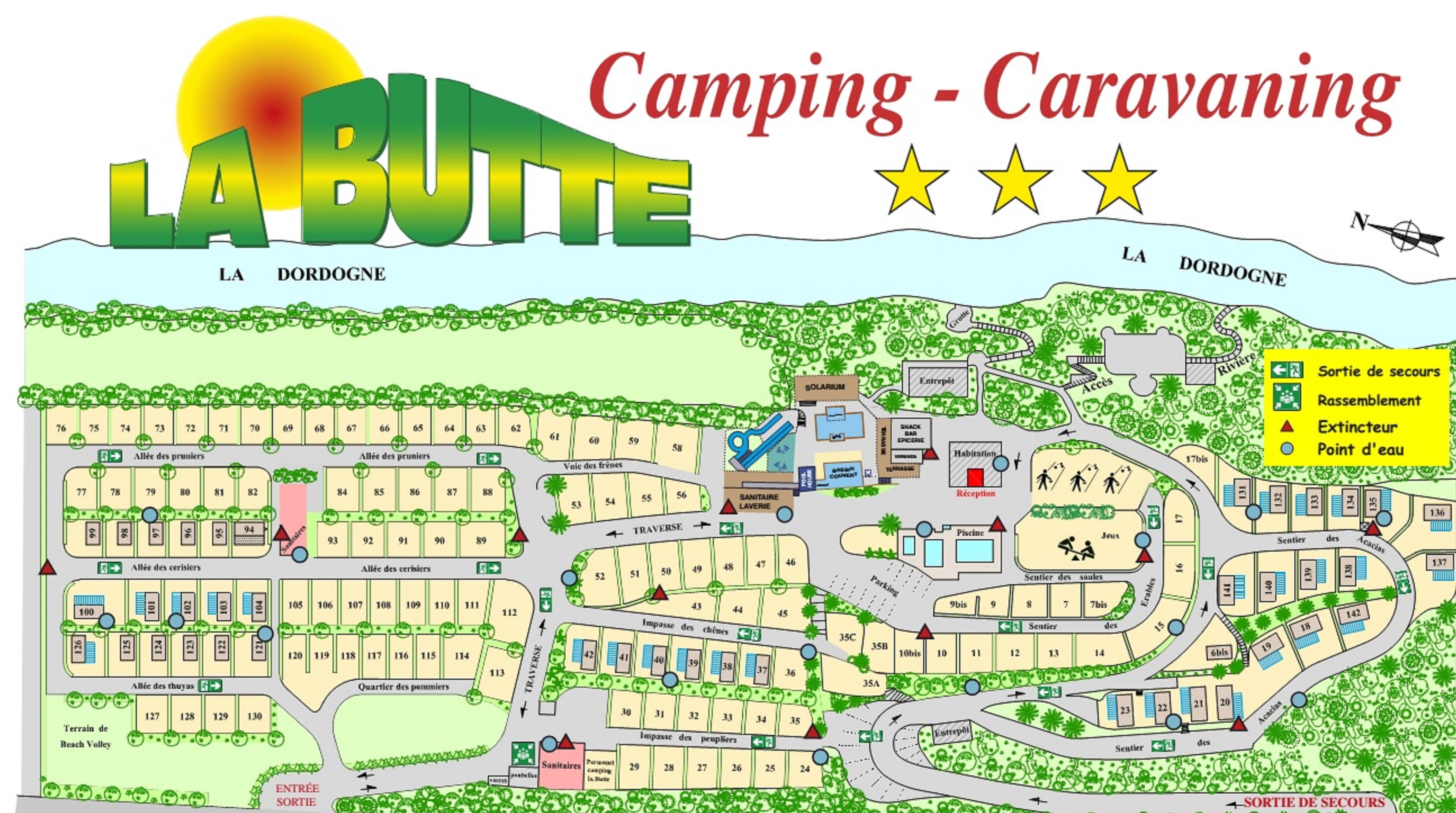 plan du camping 3 etoiles la butte en Dordogne pres de Sarlat